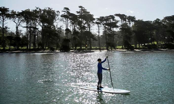 Eileen Small paddleboarding